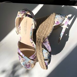 Christian Siriano Floral Espadrille Wedges